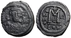 Ancient Coins - Maurice Tiberius, 582 - 602 AD, Follis of Constantinople, 30mm