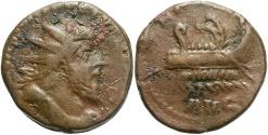 Ancient Coins - Postumus, 260 - 269 AD, AE Dupondius, Lugdunum Mint, Galley With Rowers, RARE