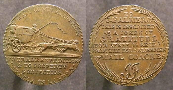 World Coins - Middlesex, Lackington's Conder Token Halfpenny, Mailcoach