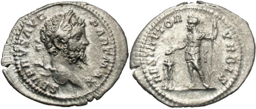 Ancient Coins - Septimius Severus, 193 - 211 AD, Silver Denarius, Septimius Sacrificing