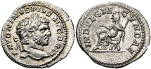 Ancient Coins - Caracalla, 198 - 217 AD, Silver Denarius, Indulgentia Seated