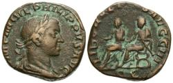 Ancient Coins - Philip II, 247 - 249 AD, Sestertius, Father & Son Seated