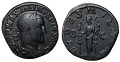Ancient Coins - Maximinus I, 235 - 238 AD, Sestertius with Fides