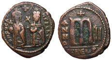 Ancient Coins - Phocas with Leontia, 602 - 610 AD, Follis of Theuopolis