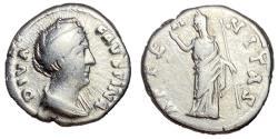 Ancient Coins - Diva Faustina Sr., Silver Denarius, Juno