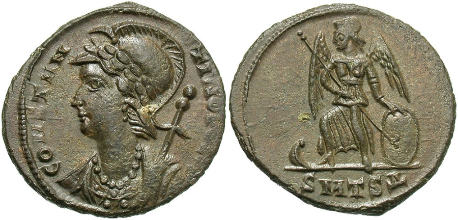 Ancient Coins - Constantinopolis Comemmorative, 330 - 333 AD, Thessalonica Mint