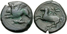 Ancient Coins - Sicily, Syracuse, Dionysios II, 367 - 357 BC, AE22, Griffin / Horse