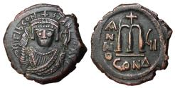 Ancient Coins - Tiberius II Constantine, 578 - 582 AD, Follis of Constantinople