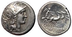 Ancient Coins - C Claudius Pulcher, 110 - 108 BC, Silver Denarius