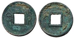 Ancient Coins - H9.46.  Xin Dynasty, Emperor Wang Mang, 7 - 23 AD, AE 5 Zhu, Half Moon Above