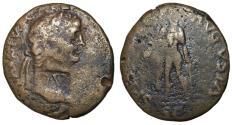 Ancient Coins - Claudius I, 41 - 54 AD, Barbarous Sestertius with Dupondius Countermark
