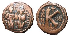 Ancient Coins - Justin II with Sophia, 565 - 578 AD, Half Follis of Constantinople