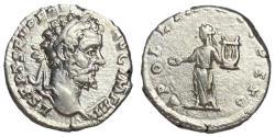 Ancient Coins - Septimius Severus, 193 - 211 AD, Silver Denarius with Apollo