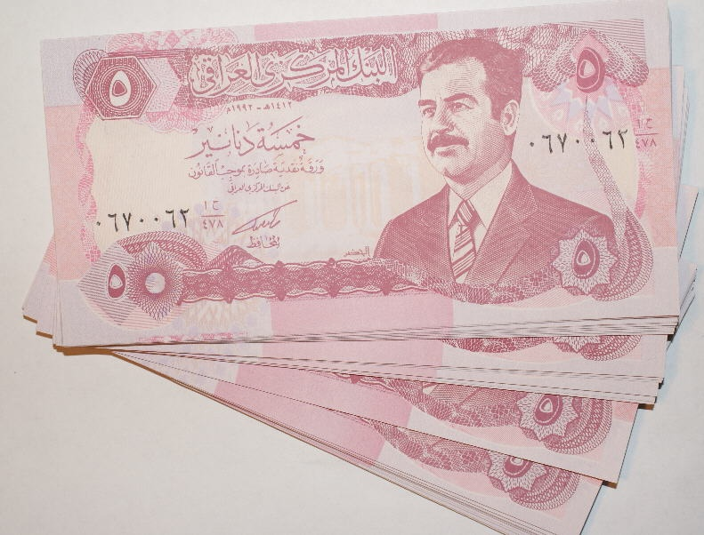 Ancient Coins - IRAQ, LOT OF 76 SADDAM HUSSEIN 5 DINAR NOTES, 1992