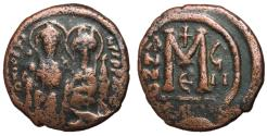 Ancient Coins - Justin II with Sophia, 565 - 578 AD, Follis of Constantinople