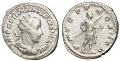 Ancient Coins - Gordian III, 238 - 244 AD, Silver Antoninianus, Emperor in Heroic Stance