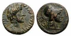 Ancient Coins - Antoninus Pius, 138 - 161 AD, AE17, Iconium, Bust of Athena