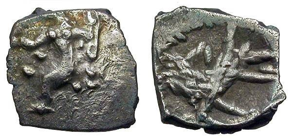 Ancient Coins - Tarsos, Cilicia, 4th Century BC, Silve3r 3/4 Obol, Baal and Wolf