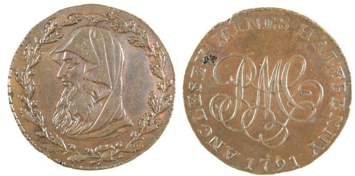 World Coins - Wales, Conder Token of 1791, Druid