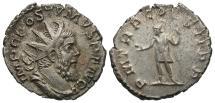 Ancient Coins - Postumus, 260 - 269 AD, Silver Antoninianus, Treveri, Mars