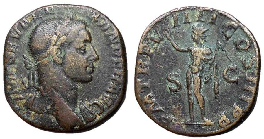 Ancient Coins - Severus Alexander, 222 - 235 AD, Sestertius, Sol