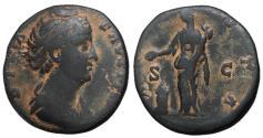 Ancient Coins - Diva Favstina Sr., Sestertius, Vesta