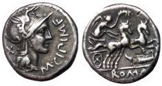 Ancient Coins - M. Cipius M.f., 115 - 114 BC, Silver Denarius