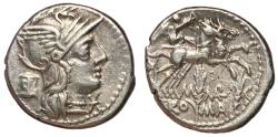 Ancient Coins - Roman Republic, M. Marcius Mn.f., 134 BC, Silver Denarius