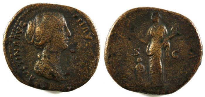 Ancient Coins - Faustina Jr., Under Antoninus Pius, 145 - 146 AD, Sestertius, Pietas