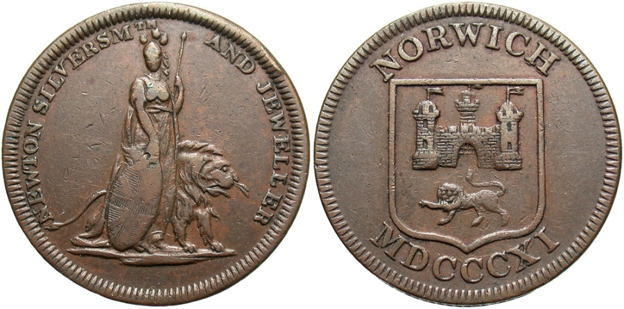World Coins - Norfolk, Norwich, Halfpenny Token 1811, Withers929