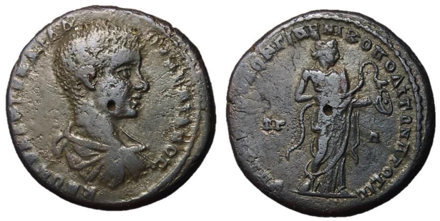 Ancient Coins - Diadumenian, 218 AD, AE28 Nicopolis Mint, Hygieia