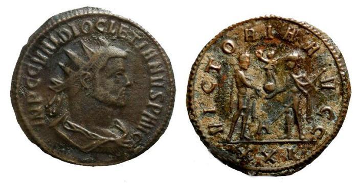 Ancient Coins - Diocletian, 284 - 305 AD, Antoninianus, Siscia Mint
