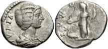 Ancient Coins - Julia Domna, 193 - 211 AD, Silver Denarius, Juno