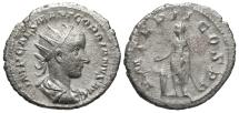 Ancient Coins - Gordian III, 238 - 244 AD, Silver Antoninianus, Emperor Sacrificing