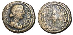 Ancient Coins - Faustina Jr., 152 - 175 AD, AE20, Auzanus Mint, Rare