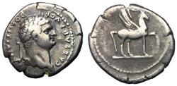 Ancient Coins - Domitian, as Caesar, 76 - 77 AD, Silver Denarius, Pegasus