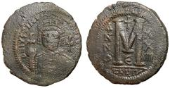 Ancient Coins - Justinian I, 527 - 565 AD, Follis of Theoupolis, 35mm, Rare and Unpublished