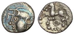 Ancient Coins - Celtic Gaul, Aedui, 80 - 50 BC, Silver Quinarius