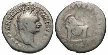 Ancient Coins - Domitian, as Caesar, 80 AD, Silver Denarius, Helmet on Throne