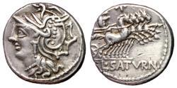 Ancient Coins - L Appuleius Saturinus, 104 BC, Silver Denarius