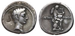 Ancient Coins - The Triumvirs, Octavian, 32 - 31 BC, Silver Denarius, Mercury