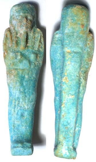 Ancient Coins - Egypt, 27th Dynasty to Ptolemaic Period, circa 525 - 332 BC, Faience Ushabti with Hieroglyphs
