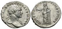 Ancient Coins - Trajan, 98 - 117 AD, Silver Denarius, Pax