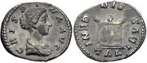 Ancient Coins - Crispina, 178 - 182 AD, Silver Denarius, Large Altar, ex Cederlind
