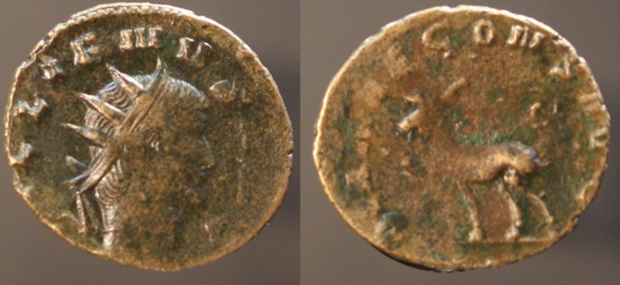 Ancient Coins - Gallienus, 253 - 268 AD, Antoninianus, Goat