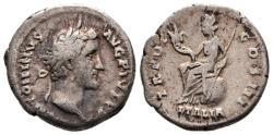 Ancient Coins - Antoninus Pius, 138 - 161 AD, Silver Denarius, Italia Seated