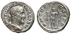 Ancient Coins - Maximinus I, 235 - 238 AD, Silver Denarius, Emperor With Standards, EF