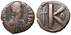 Ancient Coins - Justin I, 518 - 527 AD, Half Follis of Constantinople
