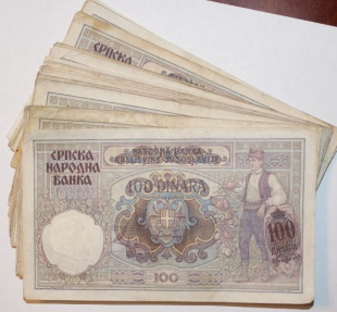 Ancient Coins - Serbia, German Occupation, Lot of 100 1941 100 Dinara Notes
