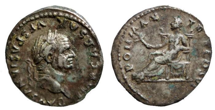 Ancient Coins - Vespasian, 69 - 79 AD, Silver Denarius